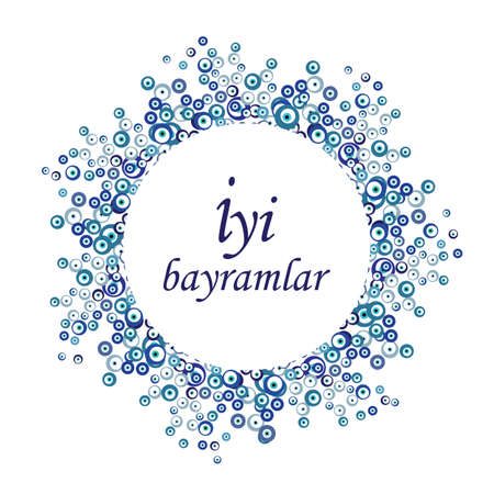 vector illustration of greeting design with iyi bayramlar phrase which means happy holiday in turkish language Ilustração