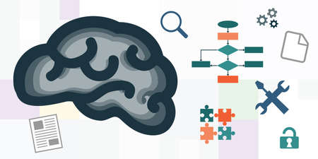 vector icons of brain and repair tools for psychotherapy and cognitive programming visuals 向量圖像
