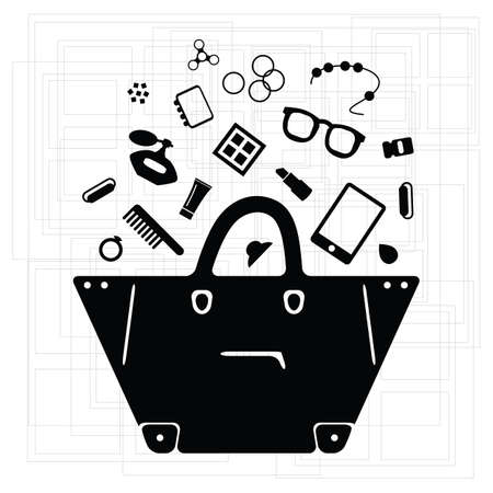vector illustration of black stylish bag with small things inside for retail and fashion trends visuals