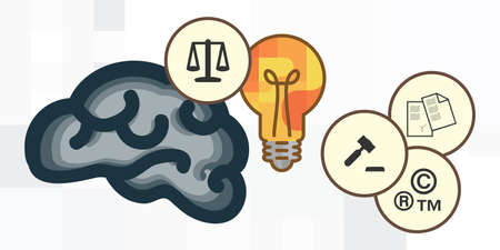 vector illustration of catching net and light bulbs as ideas symbols for intellectual property law issues