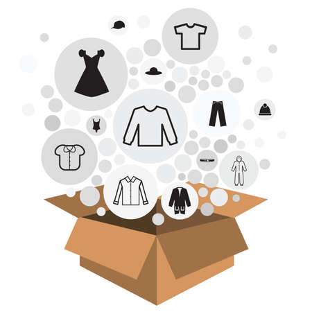 vector illustration of box with circles and clothes and accessories for fashion products delivery or charity collecting 向量圖像