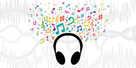 vector illustration of black headphones and colorful music notes for audio files listening songs visuals