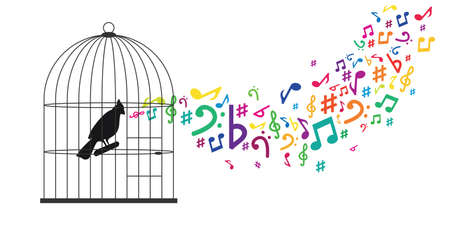 vector illustration of bird in cage and music notes for blocked creativity and singing talent visuals