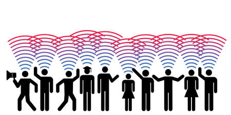 vector illustration of people signal for internet connection and information technologies influence on society 向量圖像