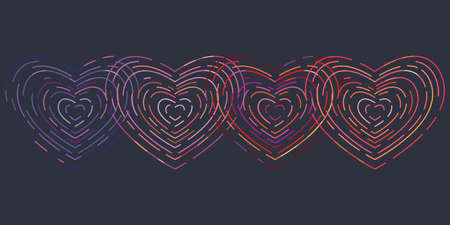 vector illustration of linear outlined intersecting neon hearts in one line on dark background