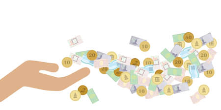vector illustration of hand with money flow for uncontrolled cash spending and business visuals 向量圖像