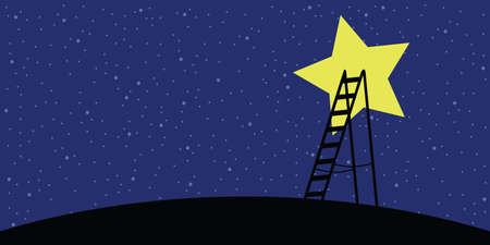 vector illustration of ladder and dark night sky with star for creativity success and fame concept