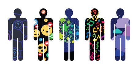 vector illustration of human body silhouettes with different colorful patterns for social life and personal character visuals 向量圖像
