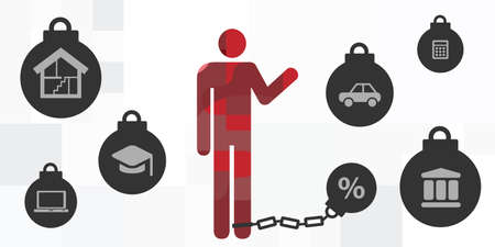 vector illustration of man with ball and chain and bank credits and debts symbols Ilustración de vector