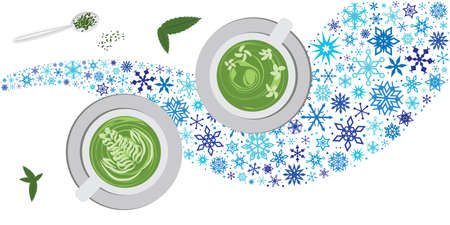vector illustration for matcha green tea drink with snowflakes for cold brew concept
