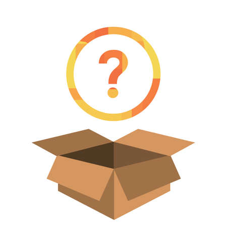 vector illustration of box and question mark for surprising customer experience and unexpected gifts 向量圖像