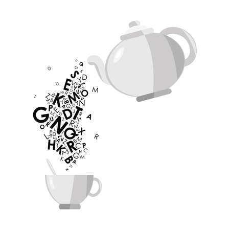 vector illustration of teapot and letters dropping into teacup for cozy conversation and home education concepts