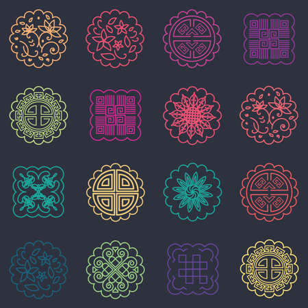 vector illustration of pattern with round ornamental cookies or mooncakes for Mid Autumn festival abstract background