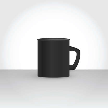 vector mockup illustration of black cup with gray shades for minimal subtle template