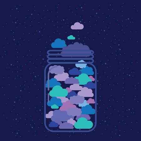 vector illustration of jar with blue clouds on dark night background 矢量图像