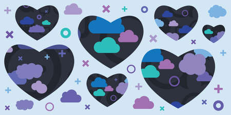 vector illustration with blue clouds and hearts for romantic dreamy greetings