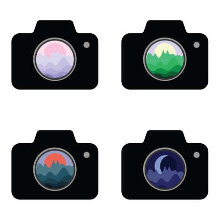 vector illustration of cameras with different landscapes in lenses