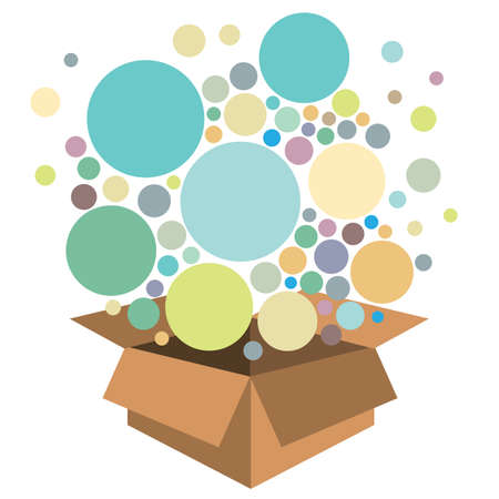 vector illustration of box with circles and pastel bubbles for products delivery or charity collecting
