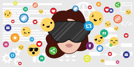 vector illustration of woman face in virtual reality mask and social media icons