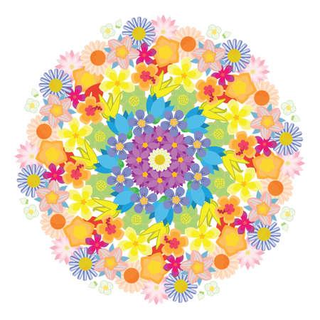 vector illustration of flowers in rainbow round mandala design