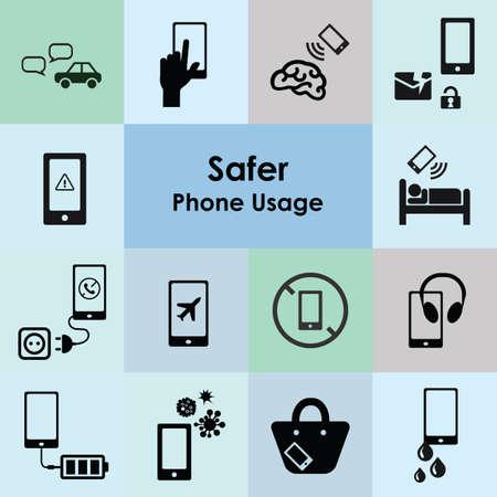 vector illustration of mobile phone safer usage icons set