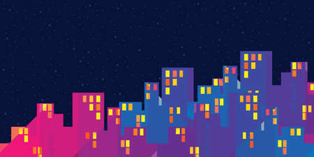 vector illustration of buildings with light windows in the night urban information visualization and city navigator