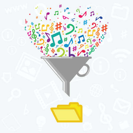 vector illustration of filter music notes and folder for audio formats convertation concept