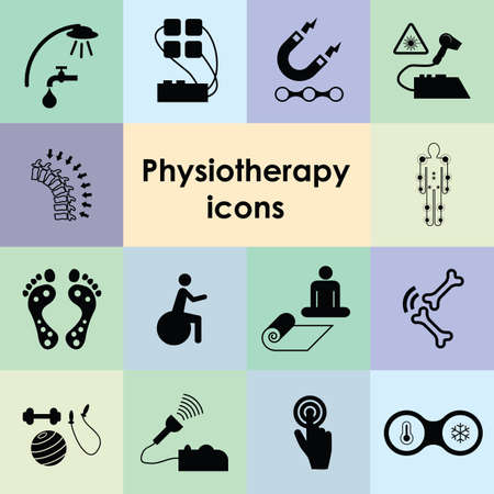vector illustration of physiotherapy procedures and tools for rehabilitation and physical therapy Stock Illustratie