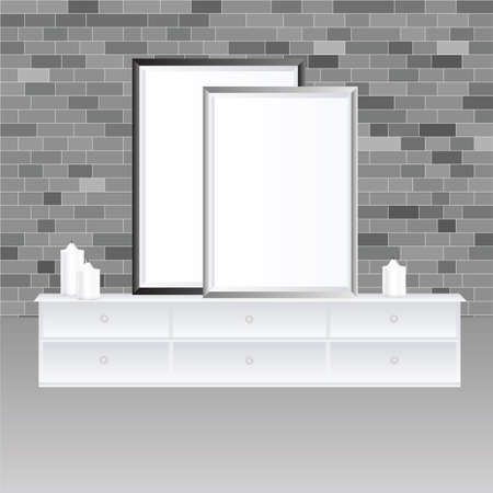 vector mockup illustration of wall frames and furniture with gray shades for minimal subtle template