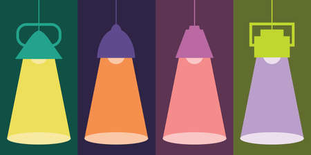 vector illustration of lamps and spotlights with colorful background for trendy illumination backgrounds