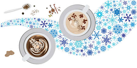 vector illustration for black coffee or latte with snowflakes for cold brew concept