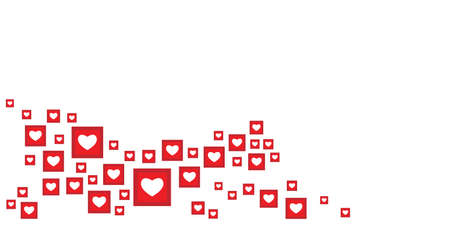 vector illustration with social media red hearts and likes symbols in corner with free space for text banner 矢量图像