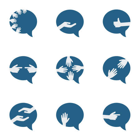 vector illustration of hands and comment symbols for different gestures and communication concepts 矢量图像