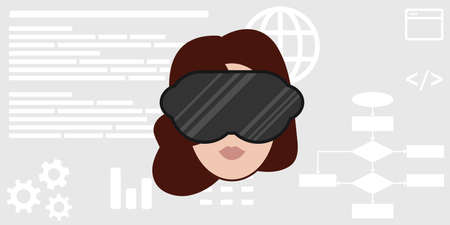 vector illustration of virtual reality mask and woman face for digital world experience
