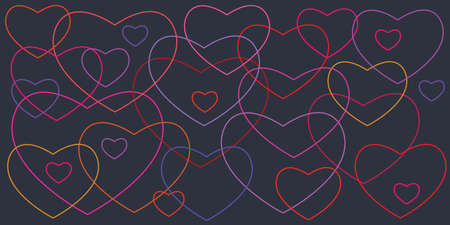 vector illustration of linear outlined randomly intersecting neon hearts on dark background
