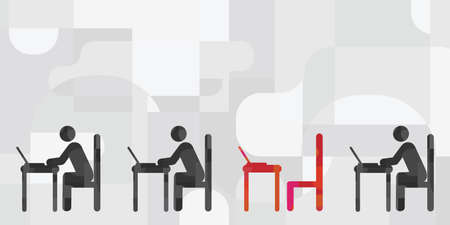 vector illustration of working with computers people sitting in a row with one empty table for newcomer