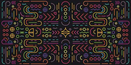 vector illustration of geometric symmetric motif with neon light lines on dark background 向量圖像