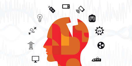 vector illustration of electronic devices with electromagnetic radiation spectrum around humans head for electrosensitivity syndrome