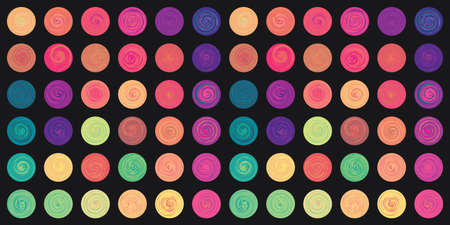 vector illustration of horizontal abstract background with colorful circles and spirals grid