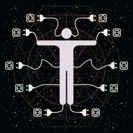 vector illustration of person wires and sockets for electricity depending human life 矢量图像