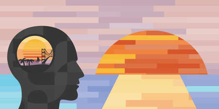 vector illustration of human head and sunset and beautiful view for dreams and visualization techniques concept