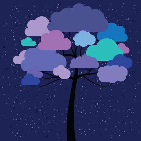 vector illustration of tree with blue clouds on dark night background