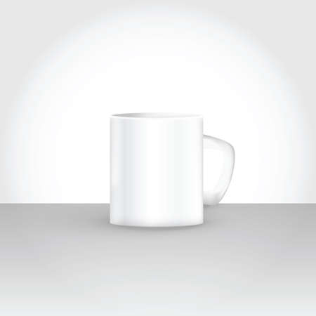 vector mockup illustration of white cup with gray white shades for minimal subtle template