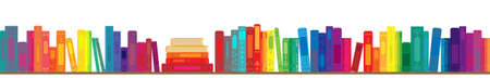 vector illustration of rainbow color books in line horizontal design for library or bookstore