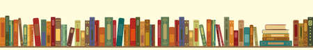 vector illustration of retro vintage color books in line horizontal design for library or bookstore Vecteurs