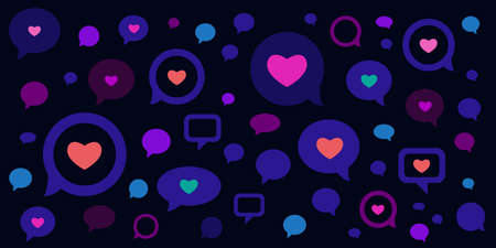 vector illustration of comments speech bubbles with hearts for romantic talks and virtual dating chat