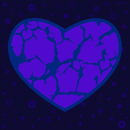 vector illustration of frozen and broken heart for failed relationship and emotional problems visual