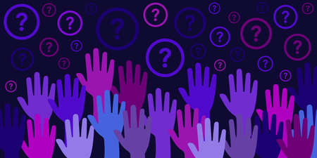 vector illustration of dark blue hands raised in the air and question marks for equality tolerance and human rights problems