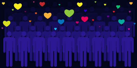vector illustration of colorful hearts and people crowd dark blue background for party and dating visuals
