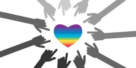 vector illustration with rainbow heart and pointing fingers for LGBTQ community problems manifestation